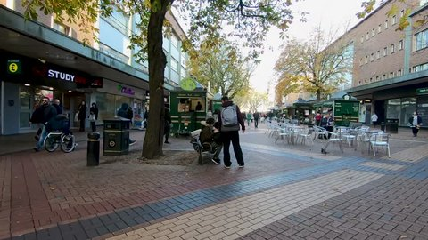 Coventry, West Midlands, UK - November 17, 2018: Hyper lapse walking through Market Way and Smithford Way in Coventry city centre