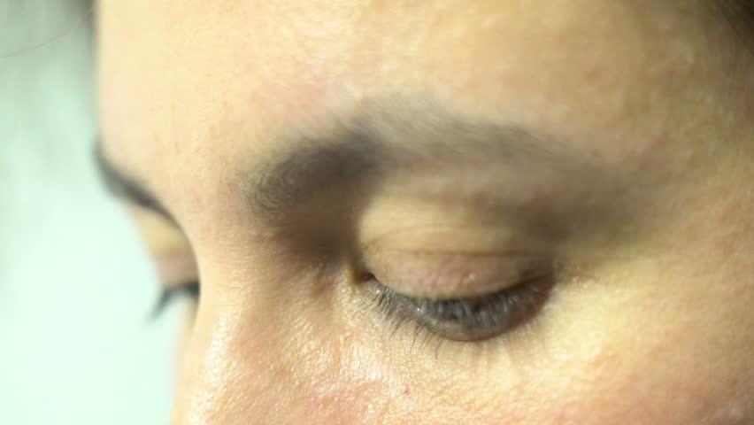 depressed woman sad opressed eye sight close up, sadness expression #1019967700