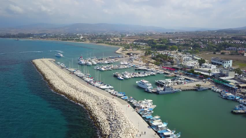 Seaport off the coast of Latchi Cyprus, aerial view | Shutterstock HD Video #1020001990
