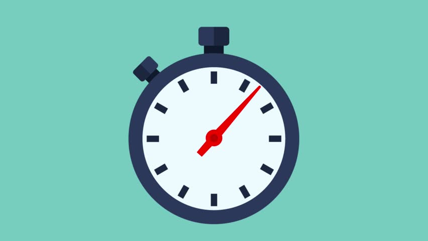 Stopwatch video animation. Template fast money. Short time. Second arrow. Time management. Footage motion, graphics flat design.