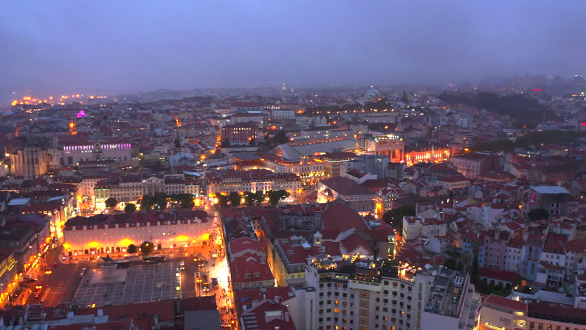 Aerial view of Lisbon Portugal at night | Shutterstock HD Video #1020043780
