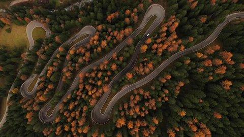 Dolomites mountain road, aerial view, Italy.