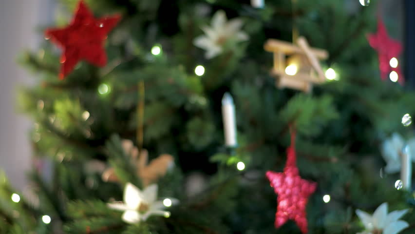 Closeup on housewife showing parcel against Christmas tree. Take the early Christmas start! Parcels arrived on time - no one will be without a gift!. This video was shot in PRORes 422 codec.