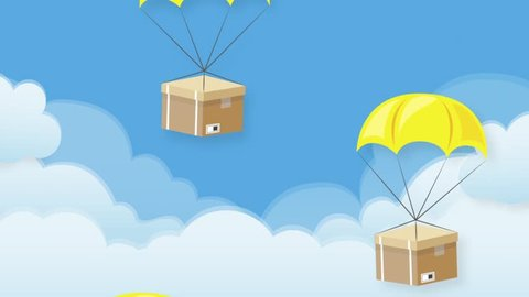 Motion graphic of cardboard boxes on sky background. Parachute boxes concept, fly in the sky. Video animation infographic