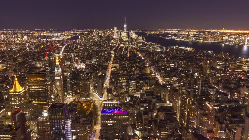 Skyline of Manhattan, New York at Night. United States of America. Aerial View. Time Lapse. Zoom In | Shutterstock HD Video #1020293920