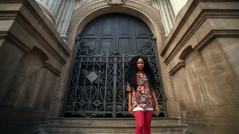Street fashion afro american model woman