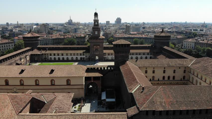 Sforza Castle flyby - Milan #1020437440