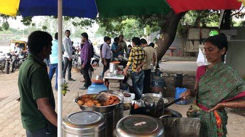 Pune, India - September 05, 2017: Street food vendor at Pune India.