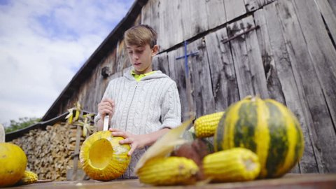 Boy in sweater carving a pumpkin face wide shot HD. Camera zooming in on jib to boy portrait shot while he cut out a pumpkin face on wooden table in front of old barn.