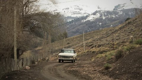 Lonely Dusty Road in a Village of the Patagonia.