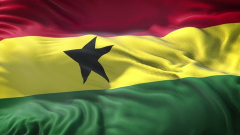 Realistic Flag of Ghana Loop