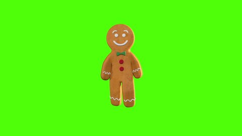 Gingerbread Dancer 3D animation of funny, hot and sweet cookie boys dancing for holiday and kid event, show, VJ, party, music, website, banner, dvd. Green screen