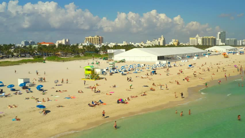 Low aerial video Miami Beach with event tents art basel | Shutterstock HD Video #1020789790