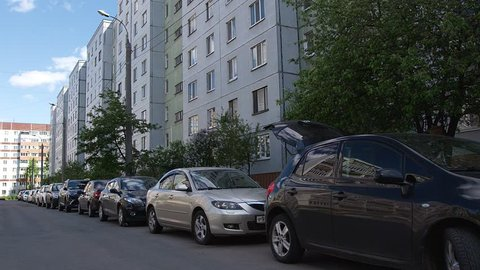 Block Houses District with parking cars