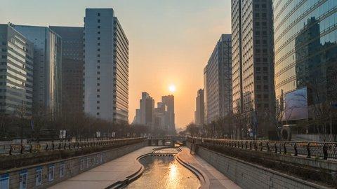 Seoul South Korea time lapse 4K, sunrise timelapse at Cheonggyecheon Stream