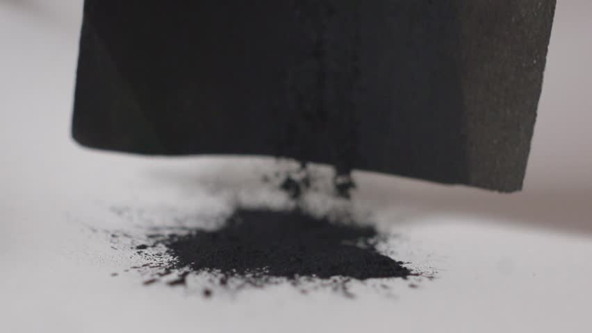 Coal black Powder Falling Against White Background, Slow Motion. painting art process to draw black coil  | Shutterstock HD Video #1020871510