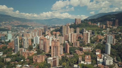 Aerial drone shot of Medellin, Colombia