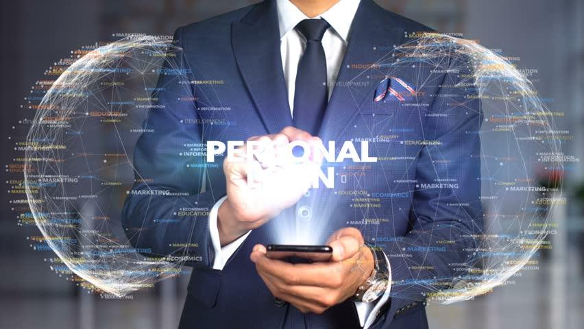 Businessman Hologram Concept Tech - PERSONAL LOAN   Shutterstock HD Video #1020894610