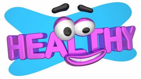 Healthy Cartoon Face Smile Physical Fitness 3d Animation