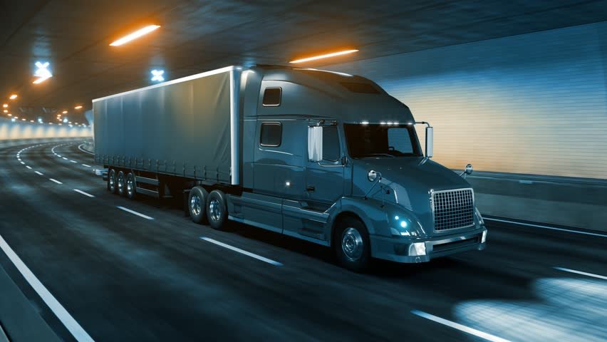 Trailer truck rides through tunnel warm yellow light 3d rendering | Shutterstock HD Video #1020915160