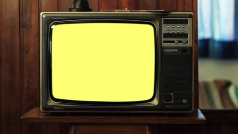 """Old Tv with Multiple Color Screens. Ready to Replace Each Color Screens with any Footage or Picture you Want. You can do it with """"Keying"""" (Chroma Key) effect. Zapping Concept."""