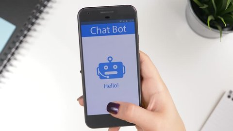 Messaging a Chatbot Chat Bot on a smartphone to find an answer to a question.