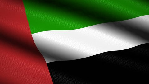 United Arab Emirates Flag Waving Textile Textured Background. Seamless Loop Animation. Full Screen. Slow motion. 4K Video