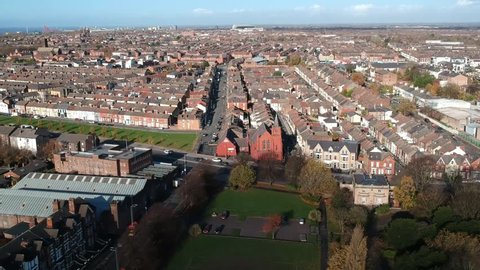 Aerial View of Kensington area situated east of Liverpool city centre