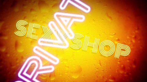 Many neon signs with text (Girls, Live Show, Nude, Topless, Open, Peep, Private, Sexy, Strip Club, XXX) coming to the viewer with a rotation, with a beer bottle surface as a background.