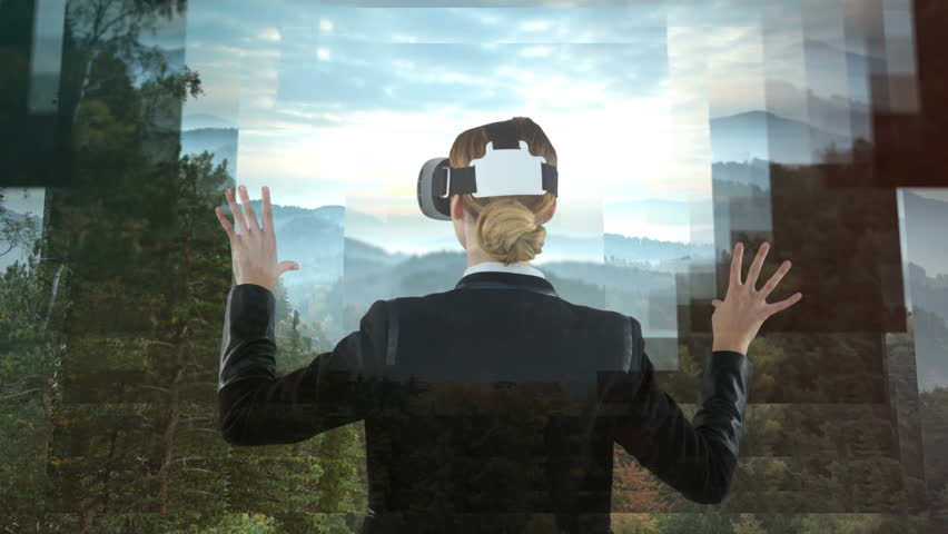 Businesswoman using VR against animated forest landscape background #1021128280