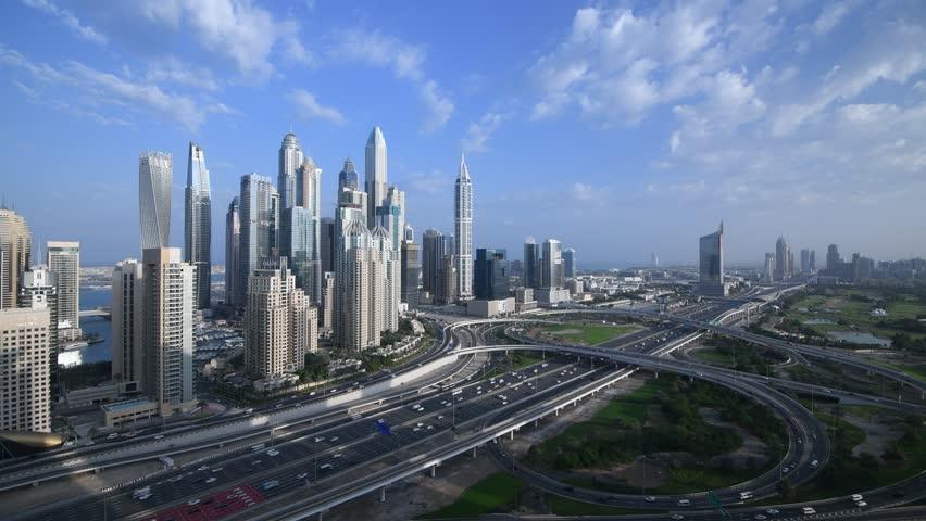 Beautiful aerial top view at sunrise of Dubai Marina in Dubai, UAE  | Shutterstock HD Video #1021145290