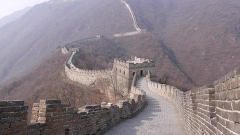 Beautiful Panorama on Great Wall of China watchtowers.
