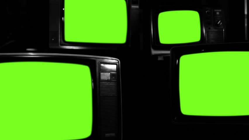"Old Tvs Turning Off Green Screen. Black and White Tone. Zoom Out. Ready to Replace Green Screen  with any Footage or Picture you Want. You can do it with ""Keying"" (Chroma Key) effect. 