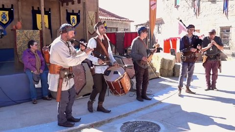 Penedono, Portugal - 07 01 2017: Penedono, Portugal / July 1, 2017 - Medieval Fair - Drum and Pipe Corp Change Beat w-Sound
