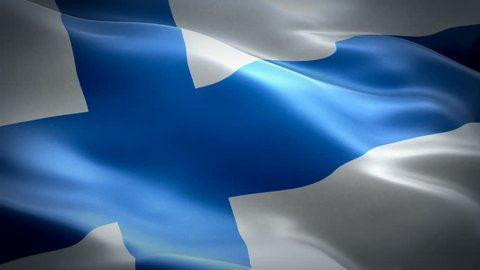 Finland Flag Wave Loop waving in wind. Realistic Finnish Flag background. Finland Flag Looping Closeup 1080p Full HD 1920X1080 footage. Finland EU European country flags/ Other HD flags available