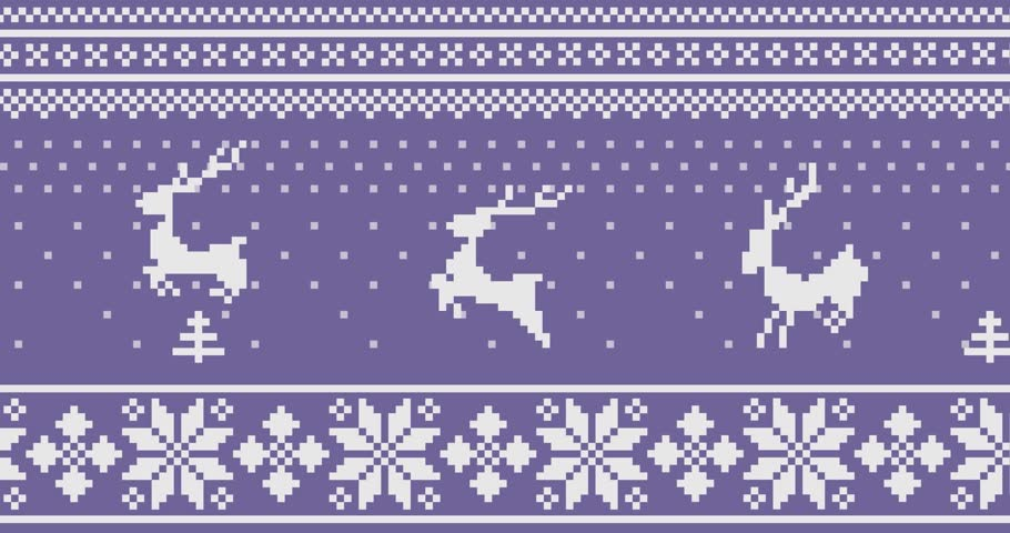Animated knitted deers that jump through Christmas trees during a snowfall | Shutterstock HD Video #1021448770