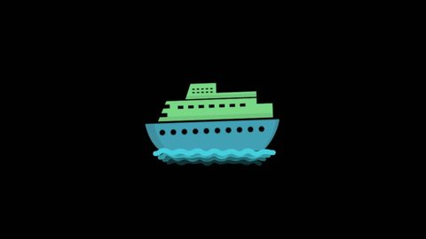 Ship icon animation with black background. Icon design. Video Animation. 4K.