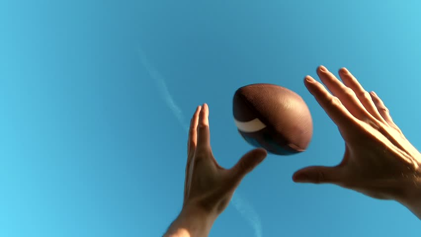 American Football Catch Point Of View, Cinematic Slow Motion.