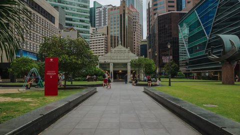 SINGAPORE – MARCH 2018: Timelapse of Skyscrapers At Raffles Place In Singapore Financial Centre. ProRes 422