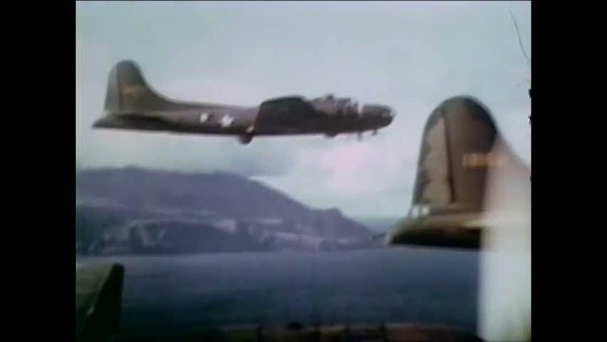 CIRCA 1943 - US Army bombers close in on Kiska in the Aleutian Islands.