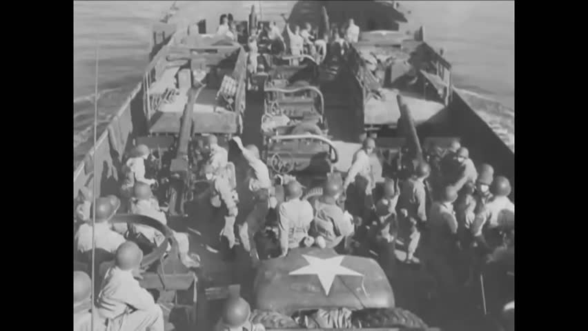 CIRCA 1940s - The Normandy landings are shown during D-Day in World War 2.