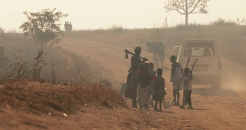 Malawi - 11 July 2017: Rural life in Malawi, Early morning South Africa. Malawi, a landlocked country in southeastern Africa, is defined by its topography of highlands split by the Great Rift Valley.