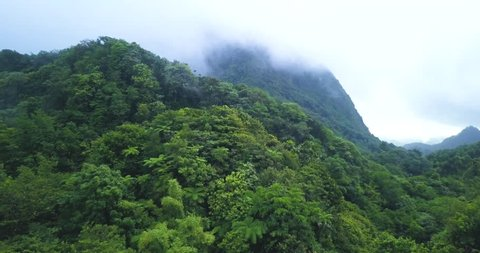 Drone view of a tropical rainforest mountain with clouds and mist