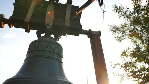 Close Up Shot of an Old Church Bell in Slow Motion 4k