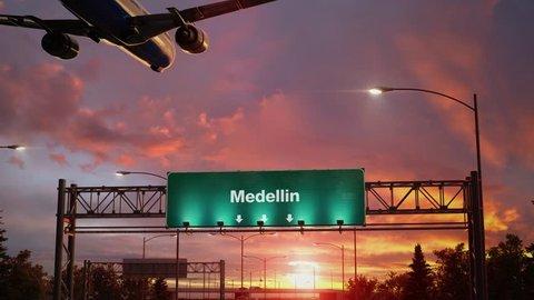 Airplane Landing Medellin during a wonderful sunrise