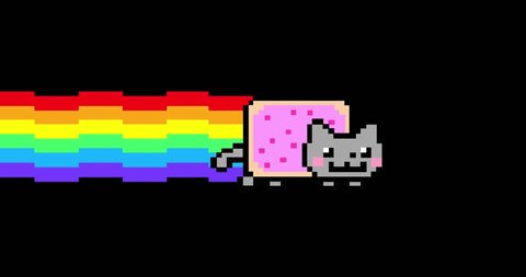 Nyan Cat Ultra HD 4K Animation Loop with Luma Matte (transparent background). Ready to use in any project.