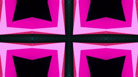 Animated multicolored kaleidoscope flower of fast-changing psychedelic patterns on a black background with colour displacement, flashes and glows.