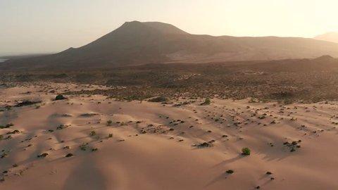 Corralejo sand dunes national park aerial, Fuerteventura aerial view