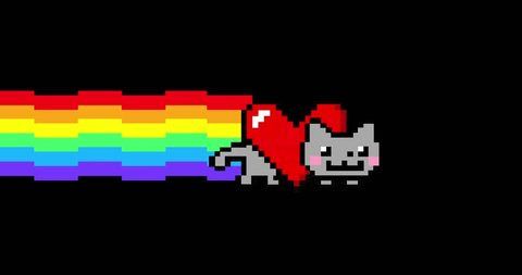 Happy Valentine's Day Love Nyan Cat with Big Heart 4K Loop with Alpha Channel (Luma Matte)