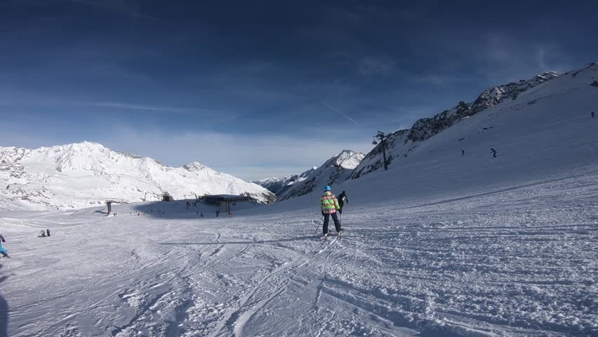 Winter time in Alps and skiers. Stubai Glacier   Shutterstock HD Video #1022032600